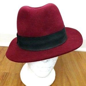 Forever 21 Burgundy Wide Brim Felt Fedora Wool Hat